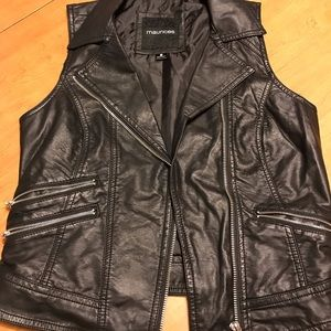 Maurice's Black Faux Moto Vest Small